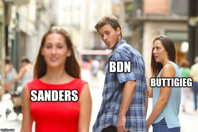 Distracted Boyfriend Buttigieg Sanders