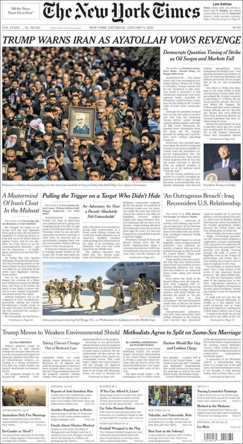 NYT Front Page 20200104